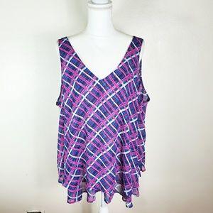 Lane Bryant Blue/Fuschia Sleeveless Top size 24W